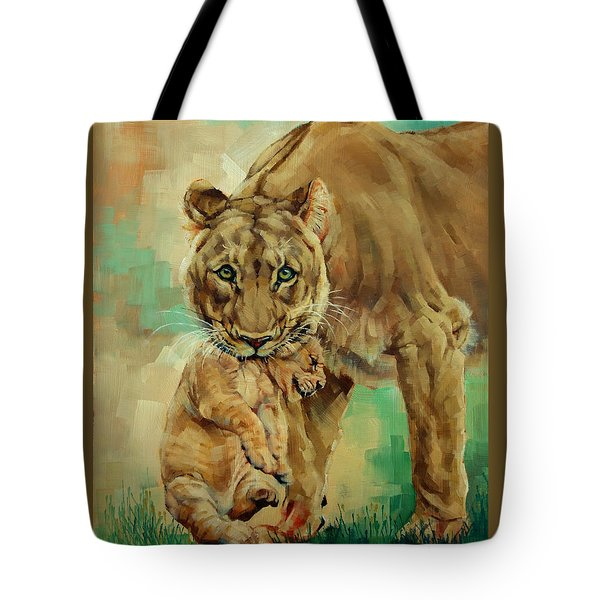 Lioness And Cub Tote Bag by Margaret Stockdale