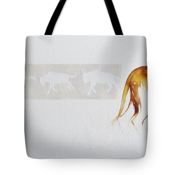 Lioness And Wildebeest Tote Bag