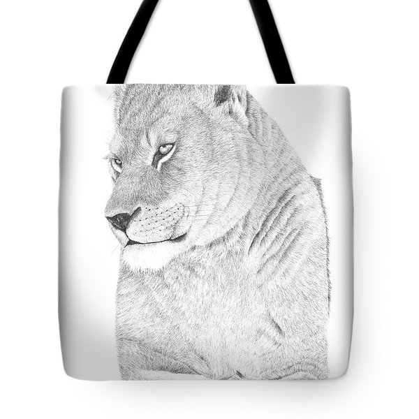 Tote Bag featuring the drawing Lioness by Patricia Hiltz