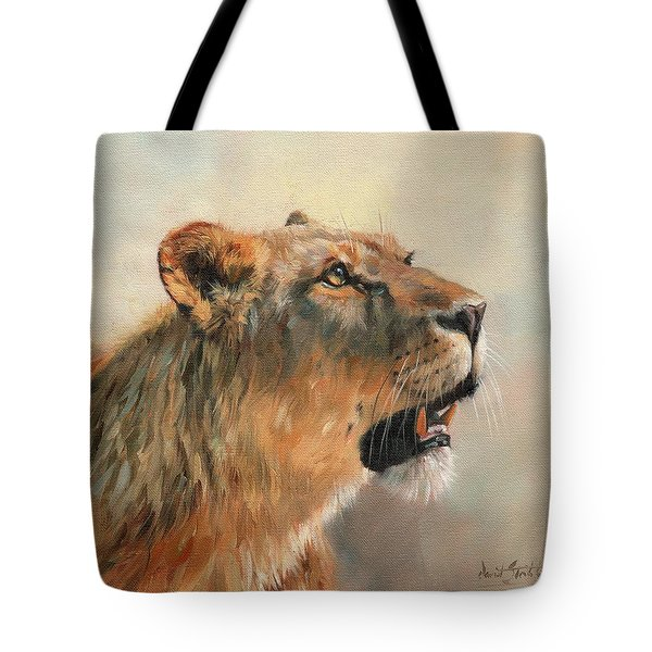 Tote Bag featuring the painting Lioness Portrait 2 by David Stribbling