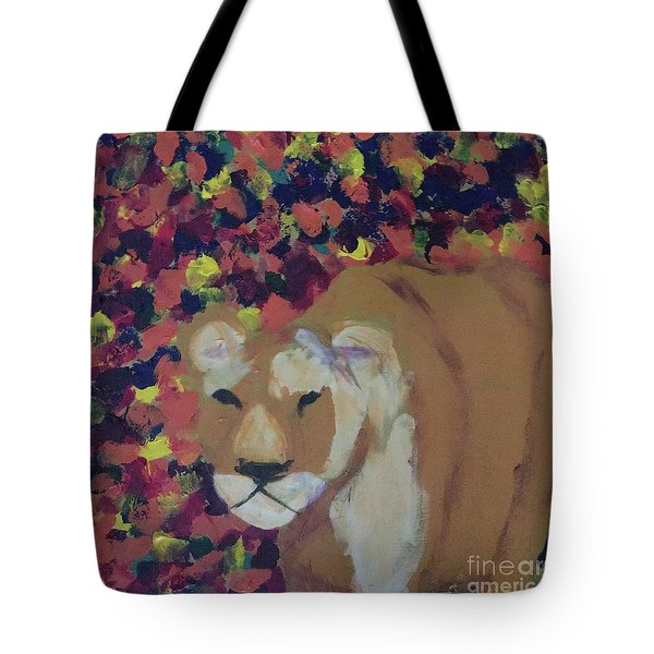 Tote Bag featuring the painting Lioness Pride 1 Of 6 by Donald J Ryker III