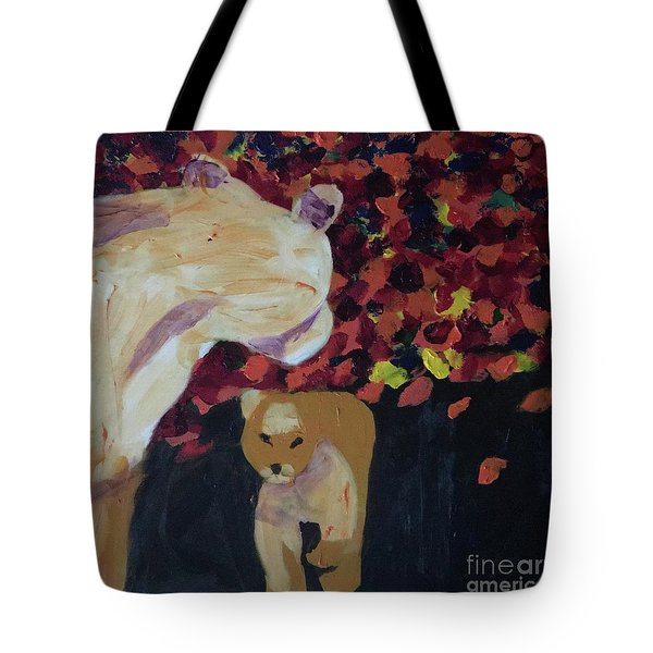Tote Bag featuring the painting Lioness' Pride 3 Of 6 by Donald J Ryker III