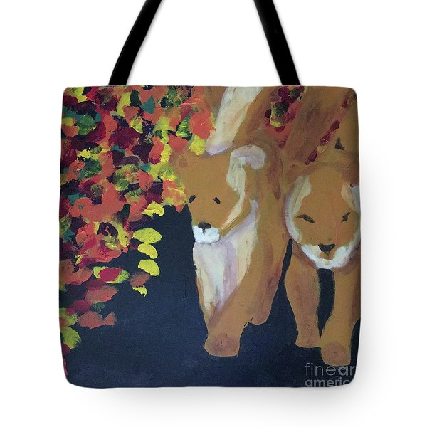 Tote Bag featuring the painting Lioness' Pride 4 Of 6 by Donald J Ryker III