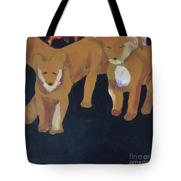 Tote Bag featuring the painting Lioness' Pride 5 Of 6 by Donald J Ryker III