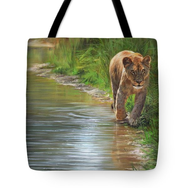 Tote Bag featuring the painting Lioness. Water's Edge by David Stribbling