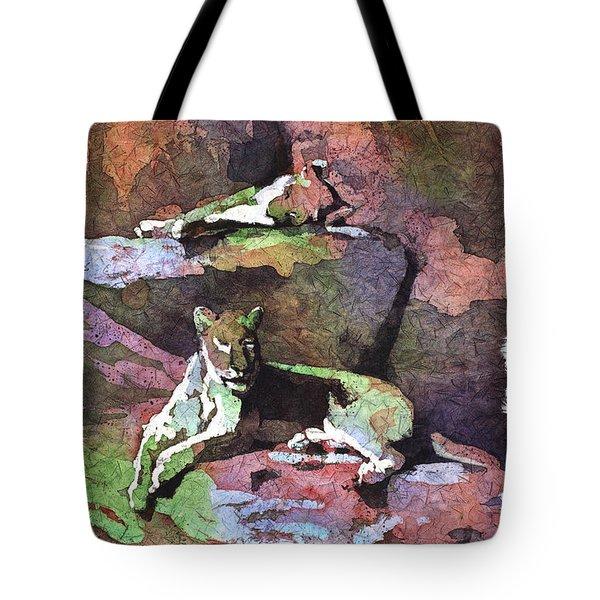 Lionesses Lounging Again Tote Bag