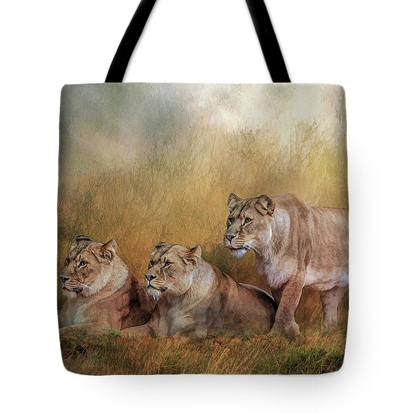 Lionesses Watching The Herd Tote Bag