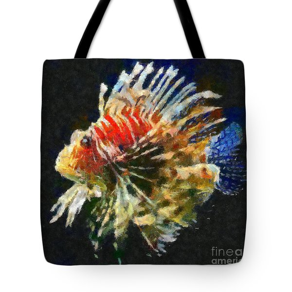 Tote Bag featuring the painting Lionfish by Dragica  Micki Fortuna