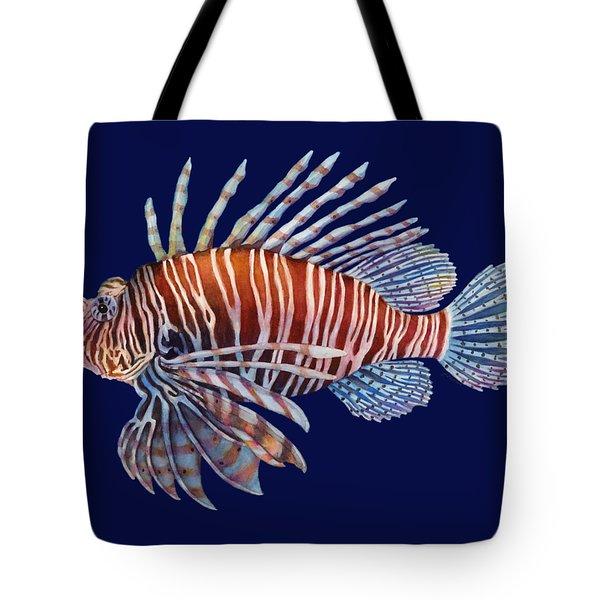 Lionfish In Black Tote Bag