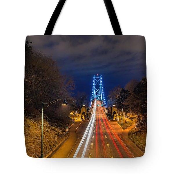 Lions Gate Bridge Light Trails Tote Bag by David Gn