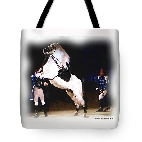 Tote Bag featuring the digital art Lipizzaner Stallion by Joan Hartenstein