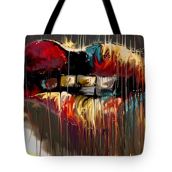 Tote Bag featuring the digital art Lips Say It All by Darren Cannell