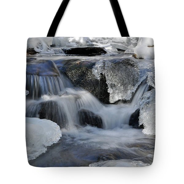 Winter Waterfall In Maine Tote Bag by Glenn Gordon
