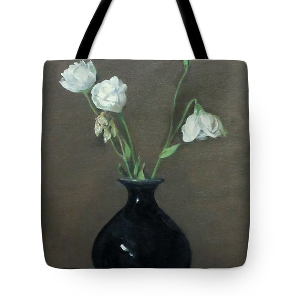 Lisianthus In Black Chinese Vase Tote Bag