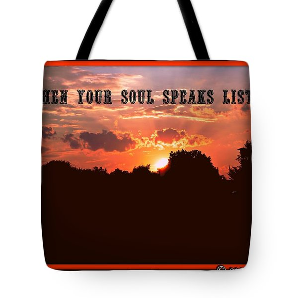 Tote Bag featuring the digital art Listen by Holley Jacobs