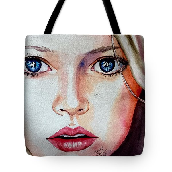 Tote Bag featuring the painting Listen by Michal Madison