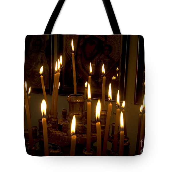lit Candles in church  Tote Bag by Danny Yanai