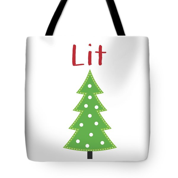 Lit Christmas Tree- Art By Linda Woods Tote Bag