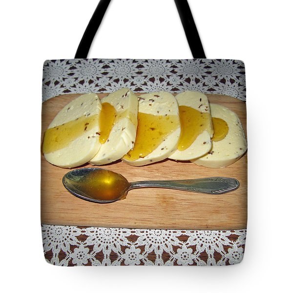 Lithuanian National Food. Cottage Cheese With Honey. Tote Bag by Ausra Huntington nee Paulauskaite