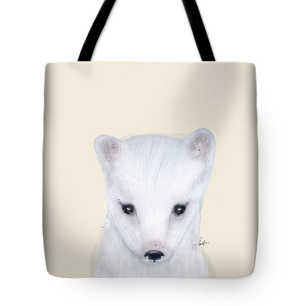 Tote Bag featuring the painting Little Arctic Fox by Bri B