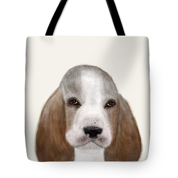 Tote Bag featuring the painting Little Basset Hound by Bri B