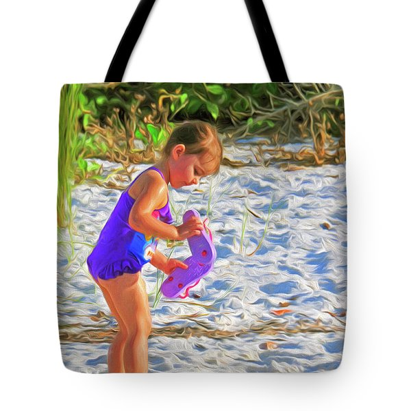 Little Beach Girl With Flip Flops Tote Bag