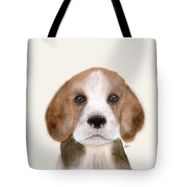 Tote Bag featuring the painting Little Beagle by Bri B