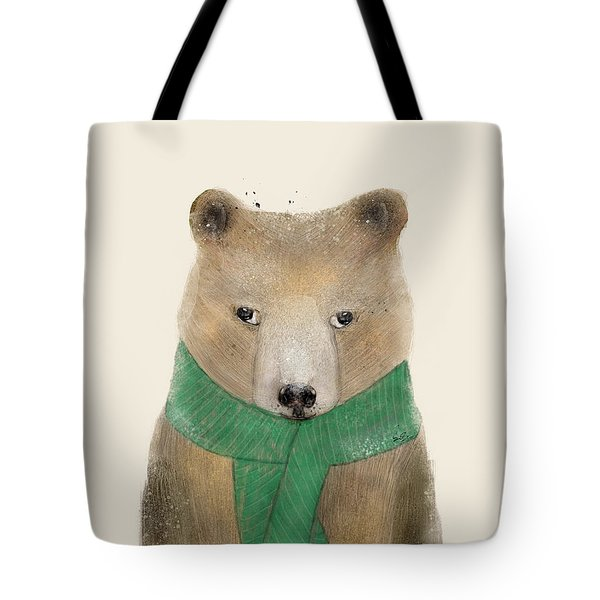Tote Bag featuring the painting Little Bear Brown by Bri B