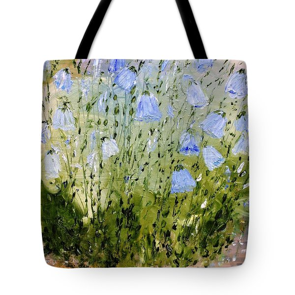 Tote Bag featuring the painting Little Bells by Evelina Popilian