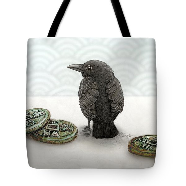 Little Bird And Coins Tote Bag