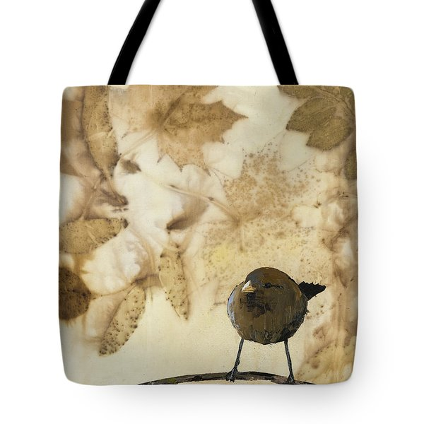 Little Bird On Silk With Leaves Tote Bag by Carolyn Doe