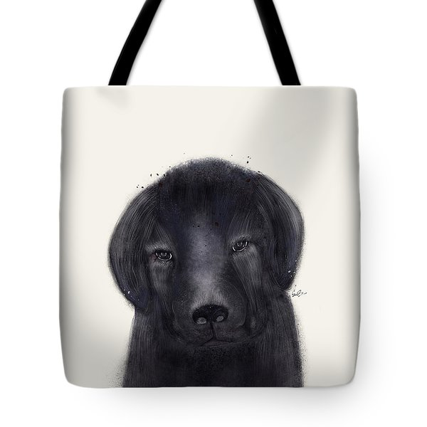 Tote Bag featuring the painting Little Black Labrador by Bri B