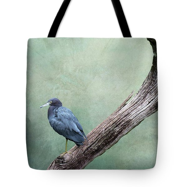 Little Blue Heron On Green Tote Bag
