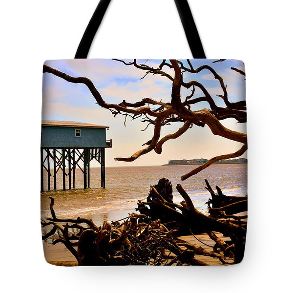 Tote Bag featuring the photograph Little Blue Hunting Island State Park Beaufort Sc by Lisa Wooten