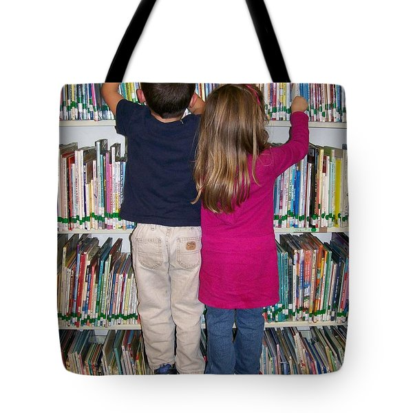 Tote Bag featuring the digital art Little Bookworms by Barbara S Nickerson