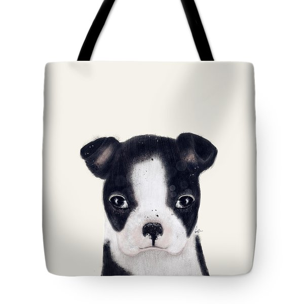 Tote Bag featuring the painting Little Boston Terrier by Bri B