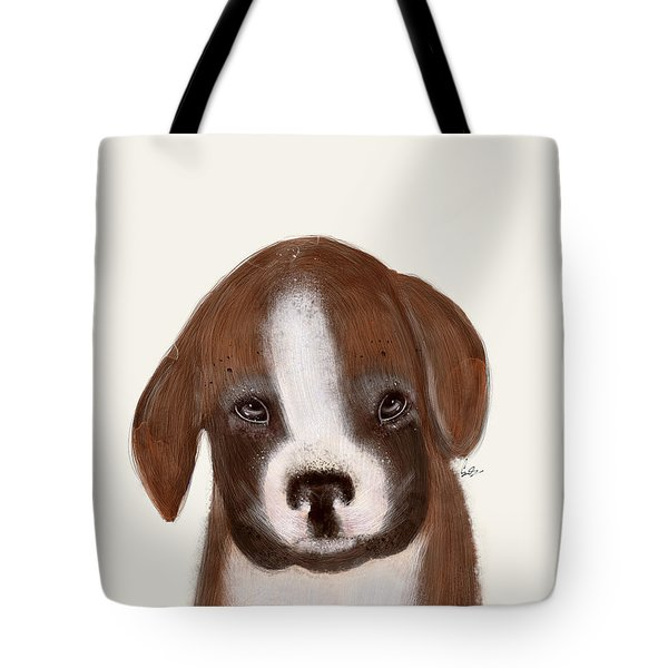 Tote Bag featuring the painting Little Boxer by Bri B