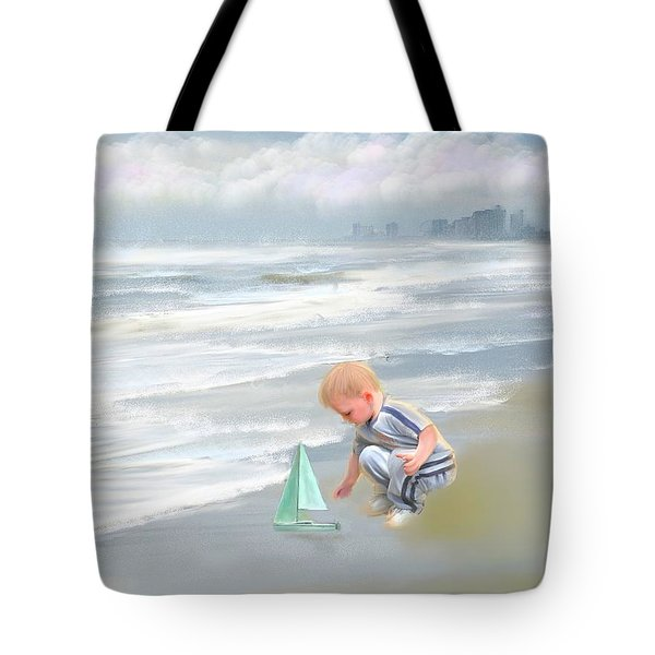 Little Boy And Boat Tote Bag