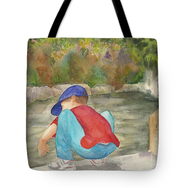Little Boy At Japanese Garden Tote Bag