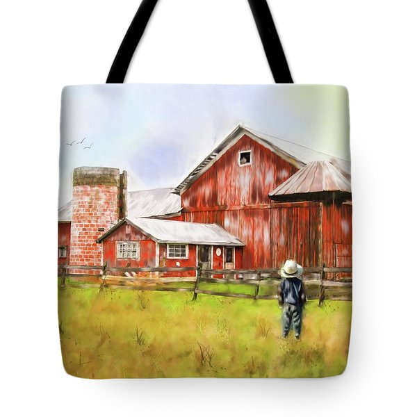 Little Boy On The Farm Tote Bag by Mary Timman