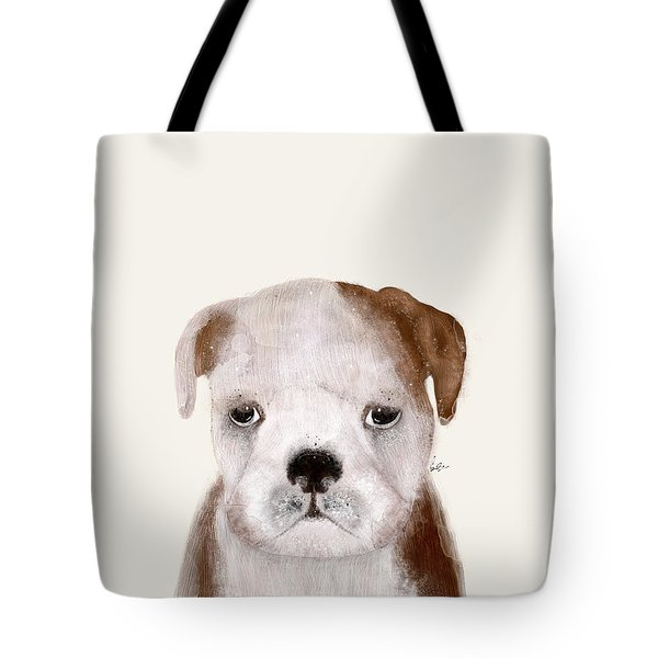 Tote Bag featuring the painting Little Bulldog by Bri B