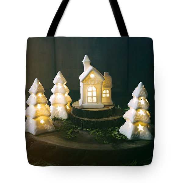 Little Ceramic Houses With Lights And Cedar Branches Tote Bag