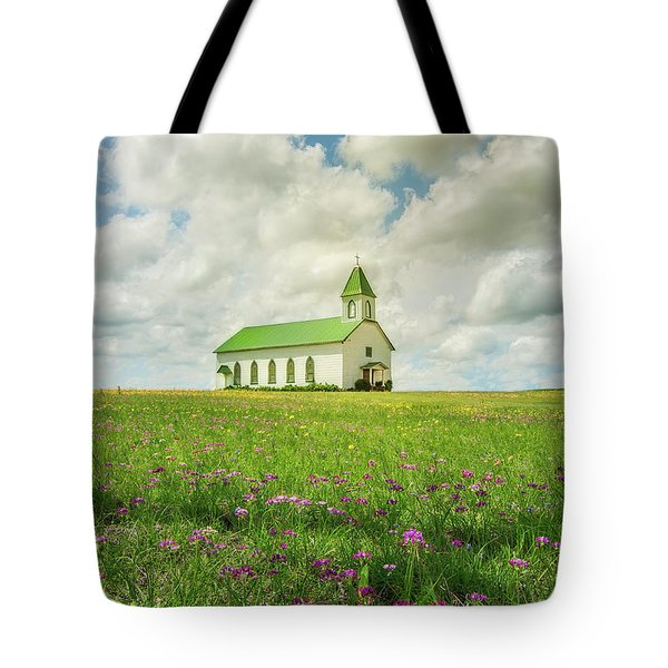Tote Bag featuring the photograph Little Church On Hill Of Wildflowers by Robert Frederick