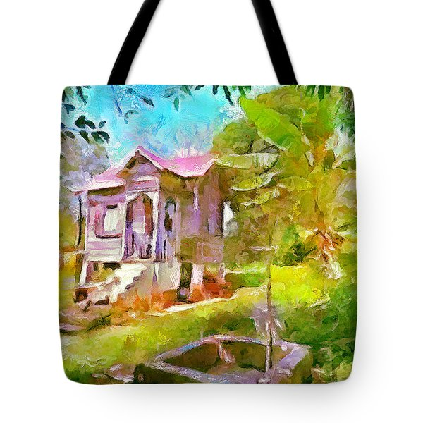 Caribbean Scenes - Little Country House Tote Bag by Wayne Pascall