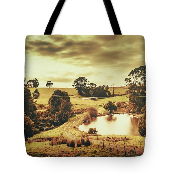 Little Country Road Near Pond In Rural Australia Tote Bag