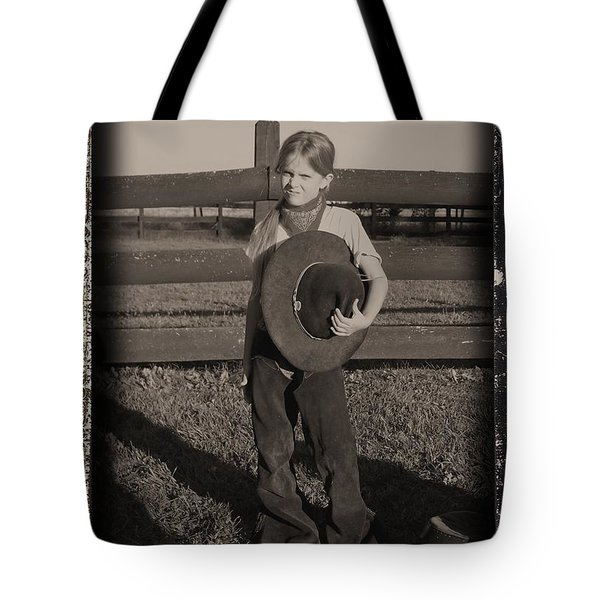 Little Cowgirl, Big Hat Tote Bag