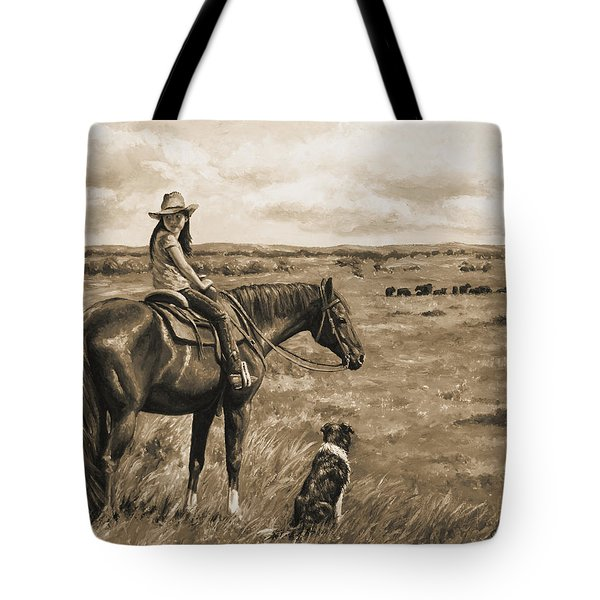 Little Cowgirl On Cattle Horse In Sepia Tote Bag