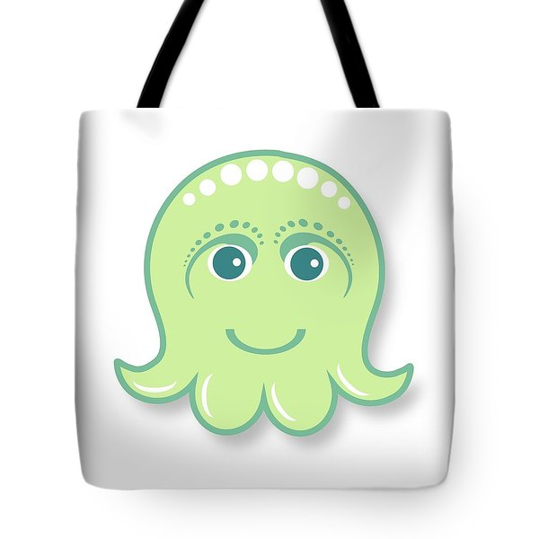 Little Cute Green Octopus Tote Bag