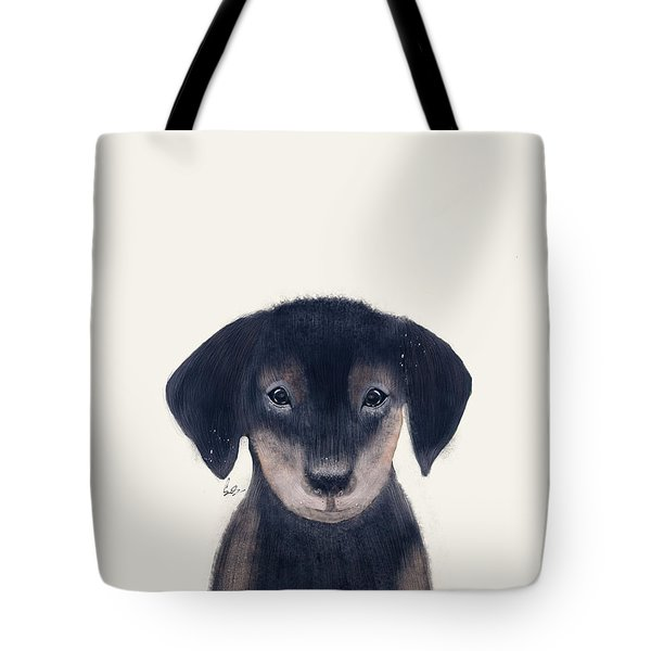 Tote Bag featuring the painting Little Dachshund by Bri B