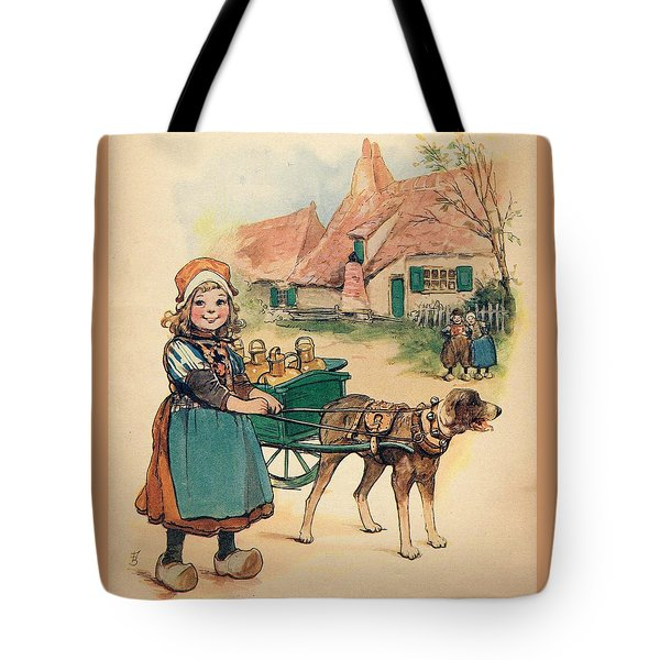 Little Dutch Girl With Milk Wagon Tote Bag